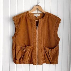 Vintage 1980s Tan Corduroy Zip Down Vest b1951